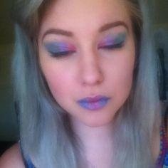 Today's make up  #motd #makeupoftheday #greyhair #silverhair #dyedhair #natiobrows #almaymakeup #elfmakeup #purplelips