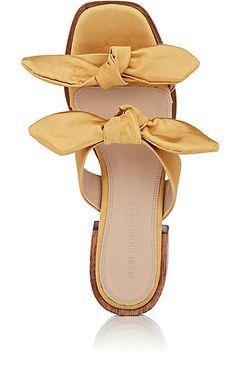 Bow-detail Satin Slide Sandals