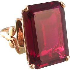 Vintage Art Deco Ruby Ring in 10k Gold, Huge Stone, Birthstone for July