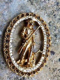 Vintage Gold Tone Rhinestone Brooch Patriot with by citizenrosebud, $39.00