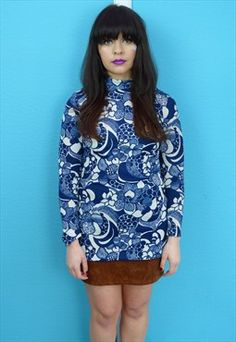 Vintage 60s Flower Power Tunic Top #sixties #vintage #flowerpower #psychedelic #print #retro