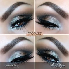 by #elymarino Using all #Motivescosmetics 1. Chocoholic gel liner 2. Chocolate shadow (My Beauty Weapon Palette) in and above crease 3. Hot Chocolate eye shadow in outer V and slightly in the crease 4.Vogue Mineral Eyeshadow in the tear duct and first half of the lid! Followed by 24K Gem Dust on the other half! Add a bit of Onyx in the outer corner for some depth. Add your liner (Little black dress Gel Liner) add your lashes and your finished!