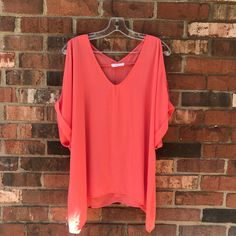 a4712efd55e Lush Coral Shirt with Shoulder Cut Outs