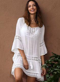 Floral Long Sleeve Midi X-line Dress - Floryday Beach Dresses, Flower Dresses, Summer Dresses, Dress Outfits, Fashion Dresses, Western Dresses, Boho Fashion, Fashion Trends, Fashion Tips