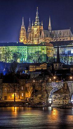 Prague at night in Czechia