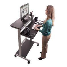 Mobile Ergonomic Stand Up Desk Computer Workstation, adjustable height