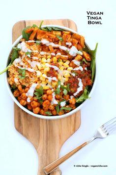 Vegan Tinga bowl with Hearts of Palm, Chickpeas, Spanish Rice | Vegan Richa