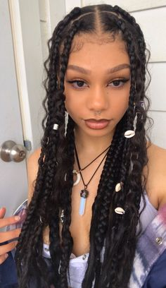 Braids Hairstyles Pictures, Cute Curly Hairstyles, Braided Hairstyles For Black Women, Baddie Hairstyles, Braids For Black Hair, Hair Pictures, Curly Hair Braids, Braids For Girls, Black Girl Braids