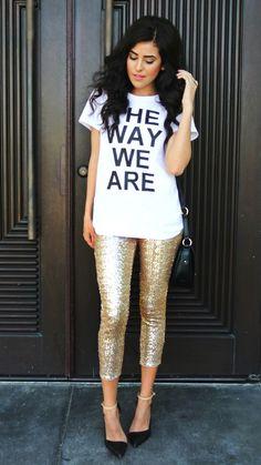 Gold Sequin Leggings