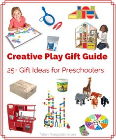 Creative Play Gift Ideas for Preschoolers! Gift guide full of fun toys and materials to encourage creative play in kids!