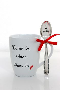 Becher, Kaffeetasse mit Löffel zum Muttertag / mug and spoon for mother's day made by theartofvariety via DaWanda.com