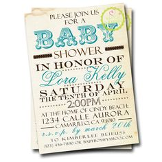 Vintage Subway Art Baby Shower Invitation (Choice of Colors) - CUSTOM - by Whittle Whimsy. $15.00, via Etsy.