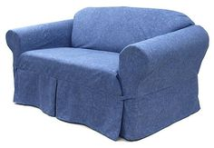 Reclining SOFA Slipcover Suede Sand SureFit Recliner Couch