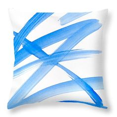 "Blue Zig Zag Abstract Art 14"" x 14"" Throw Pillow by Christina Rollo.  Our throw pillows are made from 100% cotton fabric and add a stylish statement to any room.  Pillows are available in sizes from 14"" x 14"" up to 26"" x 26"".  Each pillow is printed on both sides (same image) and includes a concealed zipper and removable insert (if selected) for easy cleaning."