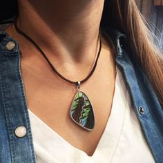 Butterfly Wing Necklace on Suede Necklace
