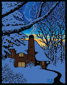 The Gloaming, Laura Wilder holiday card Cabin back lit by sunset on a winter night Art And Illustration, Arts And Crafts Movement, Whatever Forever, Winter Art, Winter Night, Art For Art Sake, Linocut Prints, Giclee Print, Nocturne