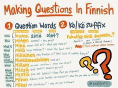There are two ways of making questions in Finnish. by using question words by using the -ko/-kö suffix Finnish Grammar, Finnish Words, Finnish Language, Learn Finnish, Subject And Verb, Language Study, Helsinki, Vocabulary, This Or That Questions