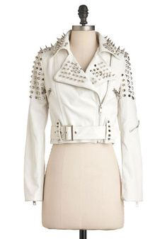Like a Boss-y Jacket in White - Short, White, Studs, Party, 80s, Statement, Long Sleeve, 2, Faux Leather
