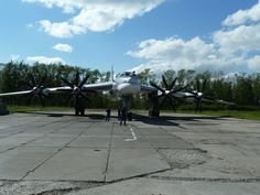 Tu-95MS, NATO Bear-H few minutes before the start. Engines are warming up, propellers are rotating. Airbase of Diaghilev, Ryazan