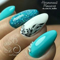 nails, You can collect images you discovered organize them, add your own ideas to your collections and share with other people. Green Nails, Blue Nails, Acrylic Nail Designs, Nail Art Designs, Nails Design, Matte Nails, Acrylic Nails, Art Deco Nails, Manicure