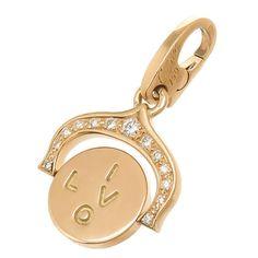 Cartier Diamond gold I Love You Charm | From a unique collection of vintage charm bracelets at https://www.1stdibs.com/jewelry/bracelets/charm-bracelets/