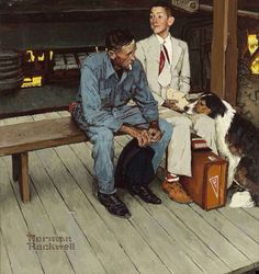 BY NORMAN ROCKWELL. We have other Norman Rockwell and some are pictured here. Canvas is ideal for paint but not ink. On canvas the ink is absorbed and the colors partially blend. Norman Rockwell Prints, Norman Rockwell Paintings, Peintures Norman Rockwell, American Illustration, Color Studies, Illustrations, American Artists, Retro, Belle Photo
