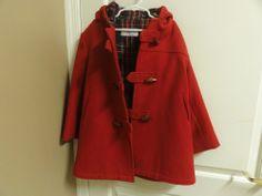 Boys SAKS IMP Red Fully Lined Toggle Coat Size 7
