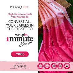 No hassle of pleats, petticoat, pico and fall. Just wrap like a skirt and you are ready. Crepe Saree, Plain Saree, Saree Border, Work Sarees, Border Print, Nude Color, Printed Sarees, Cotton Silk, Blue Fabric