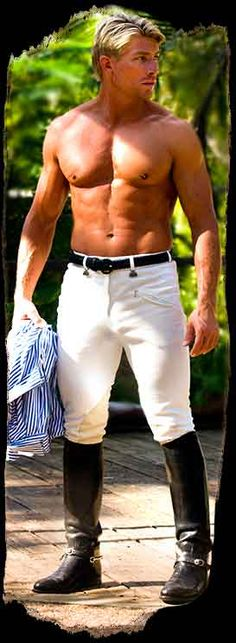 White Jeans in Boots Riding Gear, Riding Boots, Mens Tall Boots, Leather Men, Leather Boots, Black Leather, Hot Blondies, Polo Horse, Motorcycle Boots
