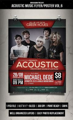 Acoustic Music Flyer / Poster Template PSD #design Download: http://graphicriver.net/item/acoustic-music-flyer-poster-vol6/13038830?ref=ksioks