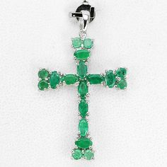 SUBLIME! NATURAL RICH GREEN COLOMBIAN EMERALD STERLING 925 SILVER CROSS PENDANT