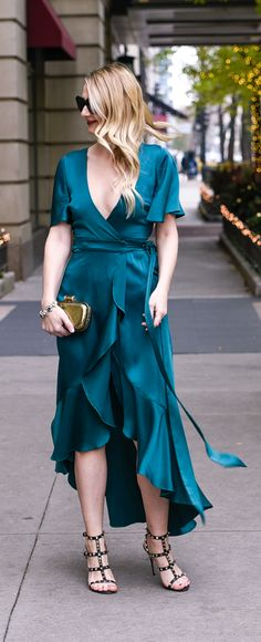 Green Temperley London silk wrap dress with ruffles!