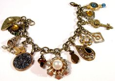 Assemblage Gypsy Charm Bracelet  Vintage  by BootsiesWorld on Etsy, $49.99