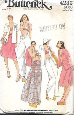 VTG Butterick 4235 Misses Jacket, Bra Top Halter Top, Maxi Skirt & Shorter Skirt And Flared Pants Pattern, Size 10 by DawnsDesignBoutique on Etsy