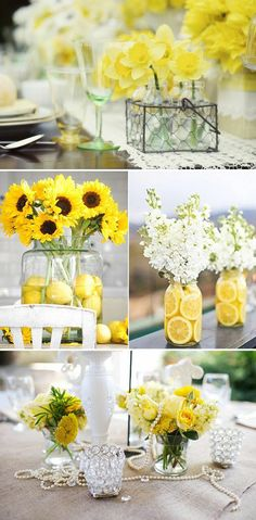 Wedding table decorations - 88 unique ideas for your party table decoration wedding daffodils sunflowers lemons Summer Wedding Centerpieces, Diy Centerpieces, Centrepieces, Wedding Table Decorations, Yellow Party Decorations, Table Wedding, Party Wedding, Deco Floral, Yellow Wedding