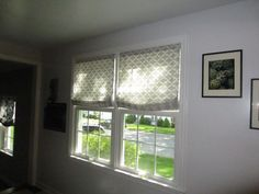 Relaxed Roman Shades on Double Window