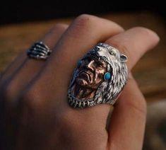 Anillo de hombre sello anillo statementring en plata Wolf-cabeza ancho 27 mm