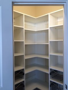 White Melamine Pantry With Full Extension Wire Shelving At The Bottom.
