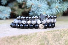 Men's Polished Onyx & Laser Cut Star/Sterling Silver by BeauBishop, $42.00