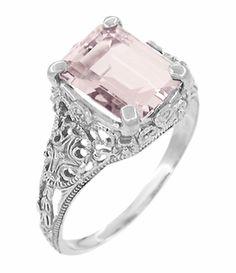 Edwardian Filigree Emerald Cut Morganite Platinum Ring - $2530 - http://www.antiquejewelrymall.com/r618pm.html