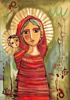| ana ferrer (?) Christian Artwork, Christian Images, Religious Icons, Religious Art, Jesus Art, Blessed Mother Mary, Mary And Jesus, Spirited Art, Soul Art
