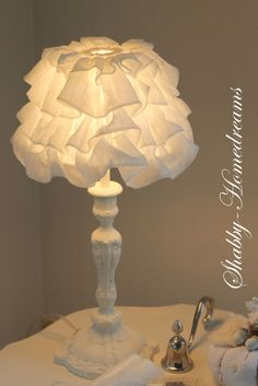 Bedroom Lampshade Idea for DIY. White, Chippy, Shabby Chic, Whitewashed…