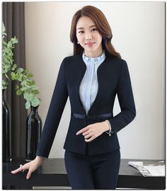 Suits & Sets Waistcoat And Jacket Sets Ladies Work Wear Uniforms Last Style Pant Suits Sincere Formal Blue Striped Blazer Women Business Suits With 3 Piece Pant