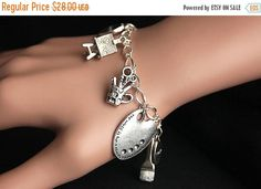 EASTER SALE Artist Bracelet. Charm Bracelet. Art Bracelet. Creativity Bracelet. Painter Bracelet. Silver Bracelet. Handmade Jewelry. by GatheringCharms from Gathering Charms by Gilliauna. Find it now at http://ift.tt/2o3MxLs!