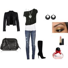 Black and leather outfit.