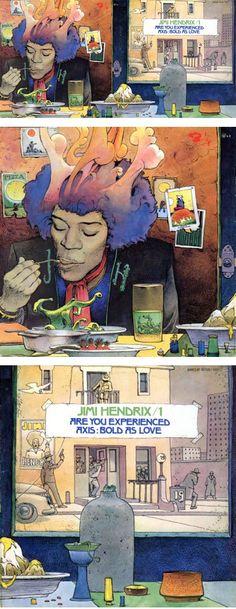 Jimi Hendrix - art by Jean Giraud, aka Moebius Jean Giraud, Jimi Hendrix Album Covers, Moebius Artist, Moebius Comics, Nogent Sur Marne, Illustrations, Illustration Art, Caricatures, Serpieri