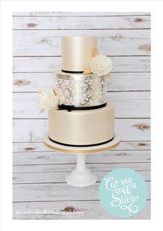 Gold Lustre, Silver Leaf & Damask Wedding Cake - Cake by cutmeoffaslice Metallic Cake, Metallic Wedding Cakes, Damask Wedding, Elegant Wedding Cakes, Elegant Cakes, Wedding Cake Designs, Wedding Ideas, Gold Wedding, Dream Wedding