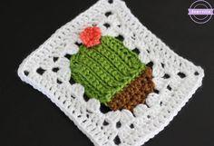 Succulent Cacti Crochet Granny Square