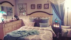 Finished bedroom.  Duvet from Pottery Barn, pillows from World Market, throw from Pier 1, furniture from Rooms To Go