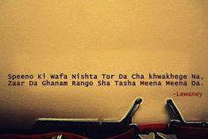 Speeno ke wafa neshta, tor da cha khwakhege na. zarsham da ghanam rangona tola meena meena da.